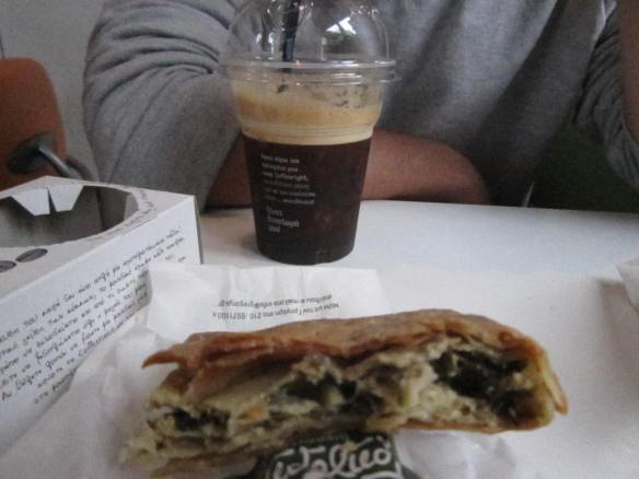 Sspanakopita and Iced Frappes